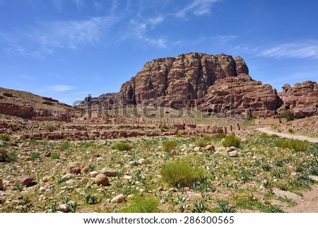 Petra archaeological site - UNESCO world heritage site and one of The New 7 Wonders of the World. - stock photo