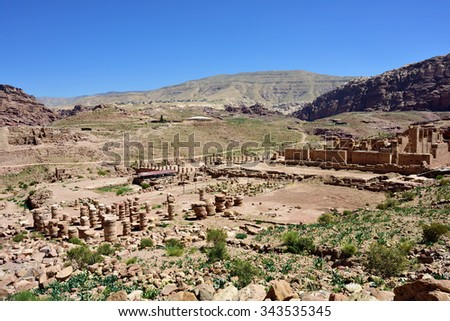 Petra archeological site - UNESCO world heritage site and one of The New 7 Wonders of the World. - stock photo
