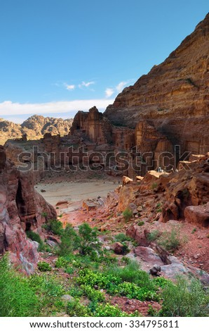 Petra at sunrise. Petra - UNESCO world heritage site and one of The New 7 Wonders of the World. Jordan - stock photo