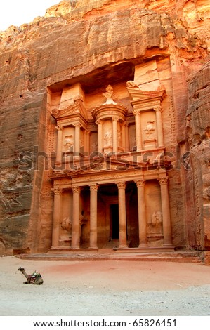Petra, Lost rock city of Jordan. Petra's temples, tombs, theaters and other buildings are scattered over 400 square miles. UNESCO world heritage site and one of The New 7 Wonders of the World. - stock photo