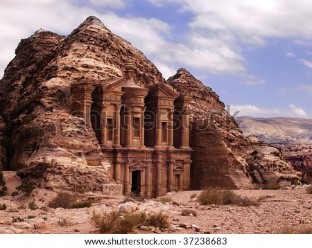 Petra Monastery in Jordan - stock photo