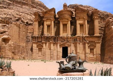 Petra monastery with Bedouins Tea & coffee pots, Jordan - stock photo