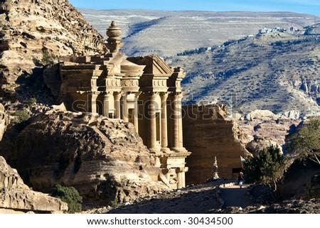 Petra - Nabataeans capital city (Al Khazneh) , Jordan. Monastery tomb extreme telephoto lens detail - shot with extender. Roman Empire period. - stock photo