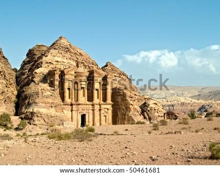 Petra - Nabataeans capital city (Al Khazneh) , Jordan. Monastery tomb. Roman Empire period. - stock photo