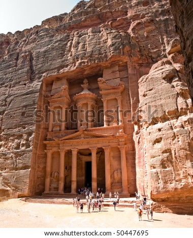 Petra - Nabataeans capital city (Al Khazneh) , Jordan. Treasury tomb. Roman Empire period.
