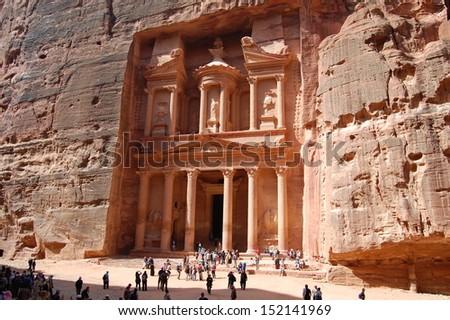 Petra - Nabataeans capital city , Jordan. THE TREASURY (El Khasneh) - stock photo