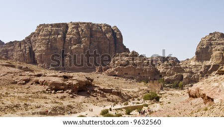 Petra panoramic view - Nabataeans capital city (Al Khazneh) , Jordan. Made by digging a holes in the rocks. Roman Empire period.