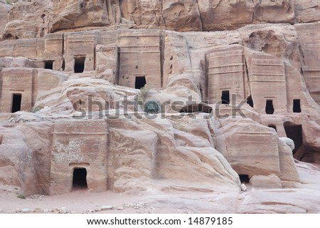Petra the ancient city in Jordan - the tombs in mountains - stock photo