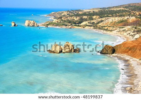 Petra tou Romiou, Aphrodite's legendary birthplace in Paphos, Cyprus. - stock photo