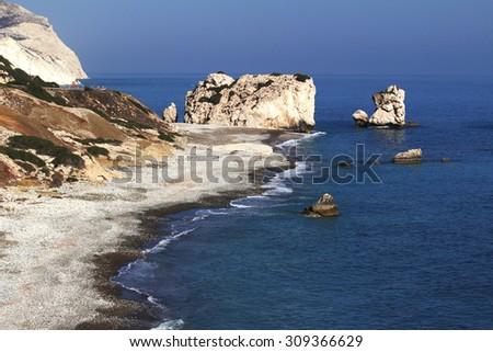 Petra tou Romiou - Aphrodite's rock and birthplace. Paphos District, Cyprus. - stock photo