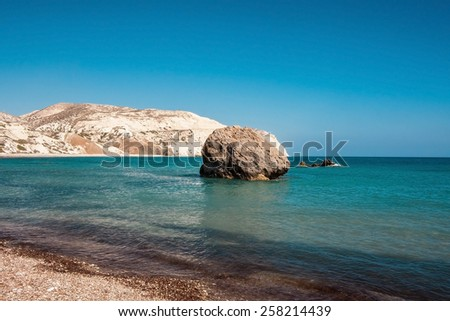 Petra tou Romiou (The rock of the Greek), Aphrodite's legendary birthplace in Paphos, Cyprus - stock photo