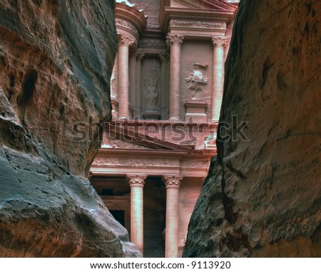 Petra Treasury as featured in the film Indiana Jones and the last crusade with Harrison Ford and Sean Connery.