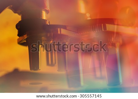 Petri dishes and liquid material. Laboratory concept. - stock photo