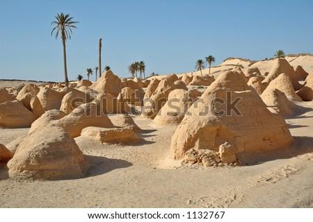 Petrified Dunes - South Tunisia - stock photo