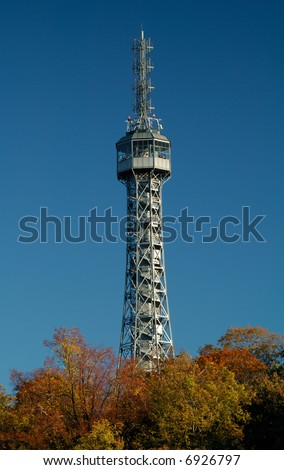Petrin outlook tower in Prague - stock photo