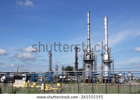 petrochemical factory oil and gas industry - stock photo