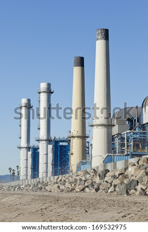 Petrochemical gas processing factory, oil industry concept image - stock photo