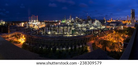 Petrochemical  Industrial Oil,Refinery Industry and Power plants twilight factory panorama. - stock photo