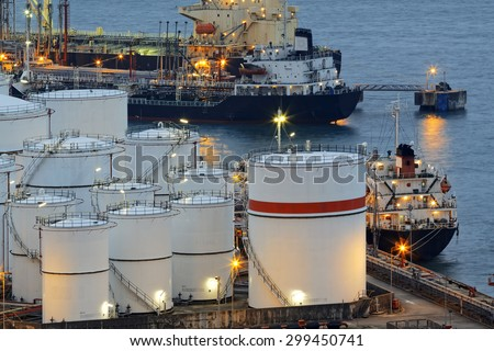 petrochemical industrial plant at sunset moment - stock photo