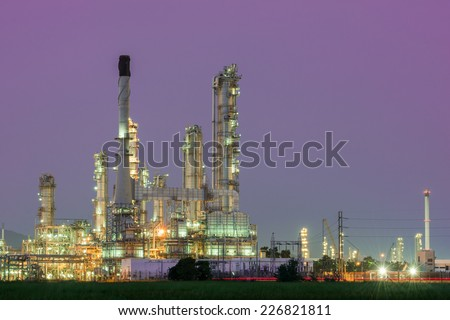 Petrochemical industrial plant power station at dark of Thailand