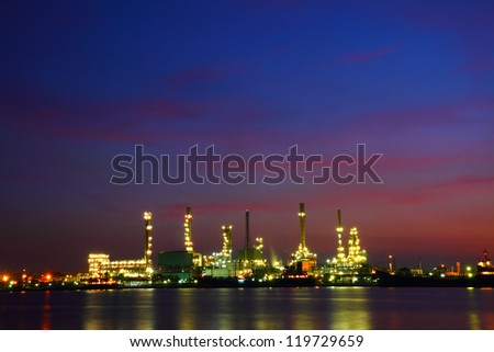 Petrochemical industry at twilight, Bangkok Thailand