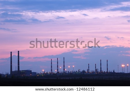 petrochemical industry night view - stock photo
