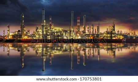 Petrochemical industry - Oil refinery and factory - stock photo