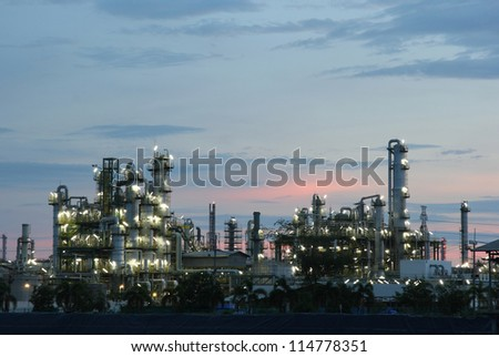 Petrochemical industry on sunset