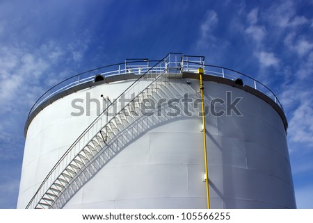 Petrochemical industry tank and blue sky