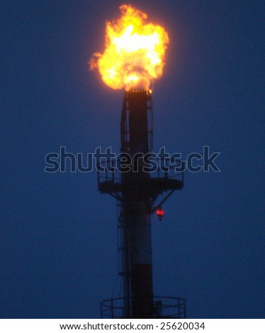 "petrochemical ""minaret of fire"" burns refinery byproducts near  Edmonton, Alberta, Canada - stock photo"