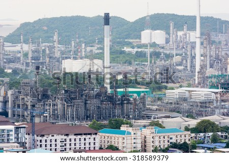 Petrochemical oil industry power station on sunset - stock photo