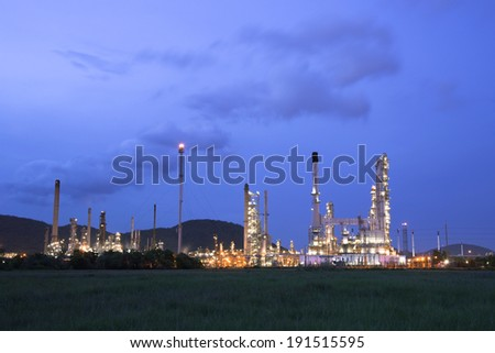 petrochemical oil refinery factory pipeline at twilight