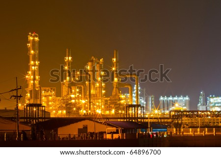 Petrochemical oil refinery plant at night, thailand