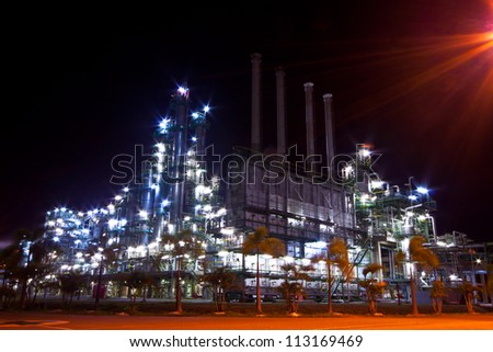 petrochemical plant  at night time