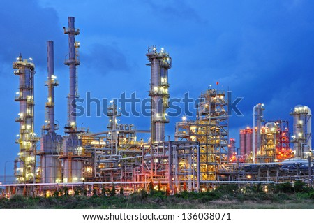 Petrochemical plant at twilight - stock photo