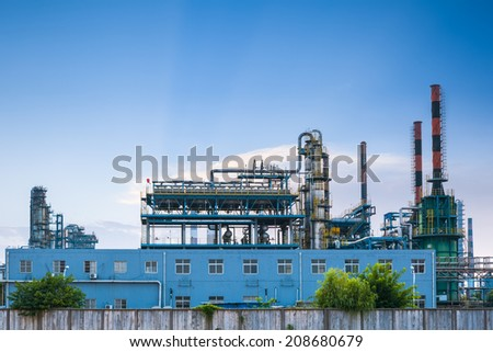 petrochemical plant ,closeup of the oil refinery equipment  - stock photo