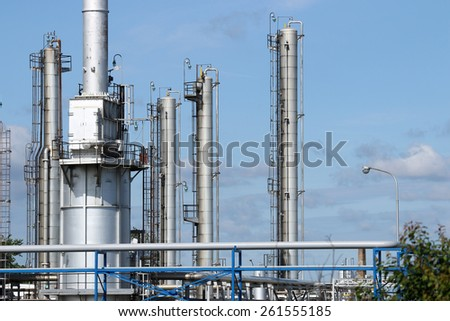 petrochemical plant detail industry zone - stock photo