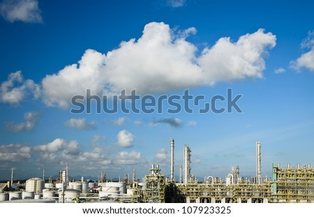 petrochemical plant in beautiful clear sky - stock photo