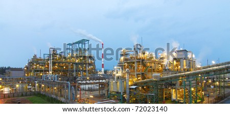 Petrochemical plant in the evening time in the industrial zone