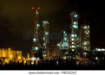 Petrochemical plant in the night , Thailand