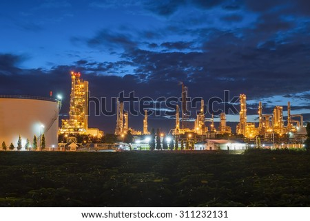 Petrochemical plant in twilight
