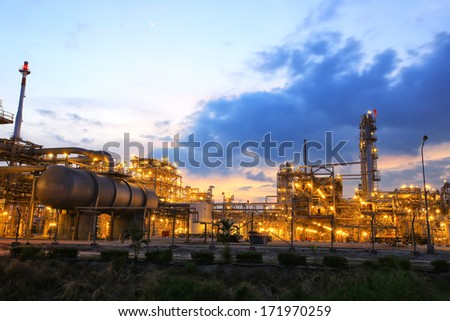 petrochemical plant in twilight time  - stock photo