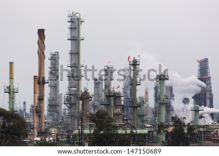 Petrochemical Plant Landscape - stock photo