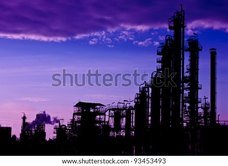 petrochemical plant of silhouette - stock photo