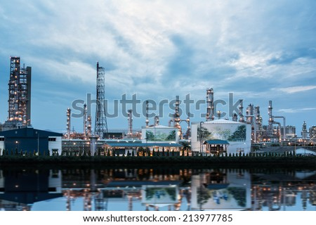 Petrochemical plant ( oil refinery ) industry with blue sky - stock photo