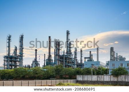 petrochemical plant skyline at dusk ,industrial landscape background  - stock photo