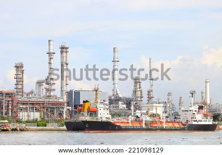 Petrochemical plant structure on manufacturing oil refinery.