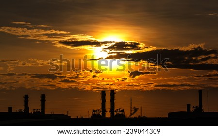 Petrochemical refineries in the morning. - stock photo