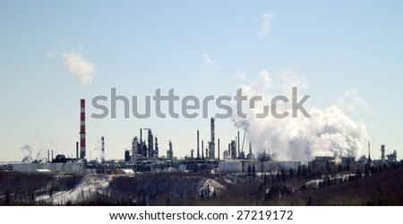 Petrochemical refinery perched on the edge of the North Saskatchewan River valley - stock photo