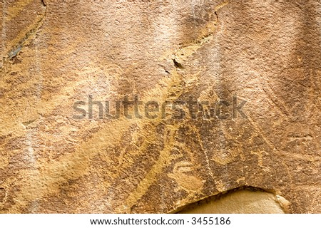 Petroglyph on Newspaper Rock from Native Americans in Capitol Reef National Park ,Utah, USA - stock photo